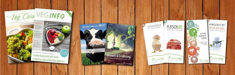 Swissveg Werbematerial, Zeitschriften, Broschüren und Flyer