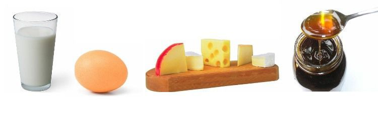 lait, oeuf, fromage, miel